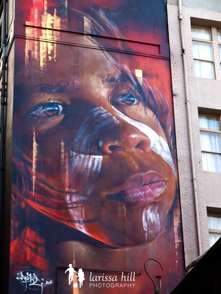 Hosier Lane, Melbourne, Melbourne CBD, graffiti, aboriginal boy, painting, stunning, portrait,