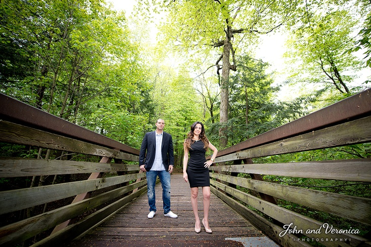 Engagement photo at Edwards Gardens, Toronto