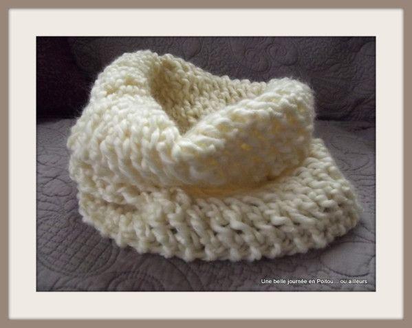 Col au tricot en grosse laine en point turc ajour tout simple tricot pinterest simple - Grosse laine chunky ...
