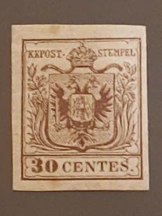 Kingdom of Lombardy-Venetia, 1850 – Brown – 30 centesimi – Type I – Sassone #7.