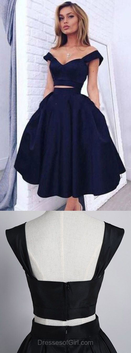 Navy Prom Dress, Off the Shoulder Prom Dresses, Tea Length Homecoming Dress, Two Piece Homecoming Dresses, Satin Cocktail Dresses