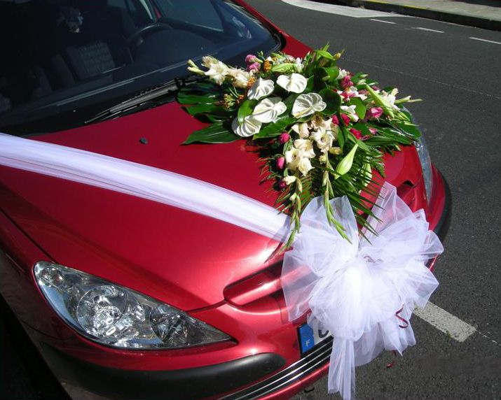 ribbon wedding car floral decoration thankswedding car decorations ...