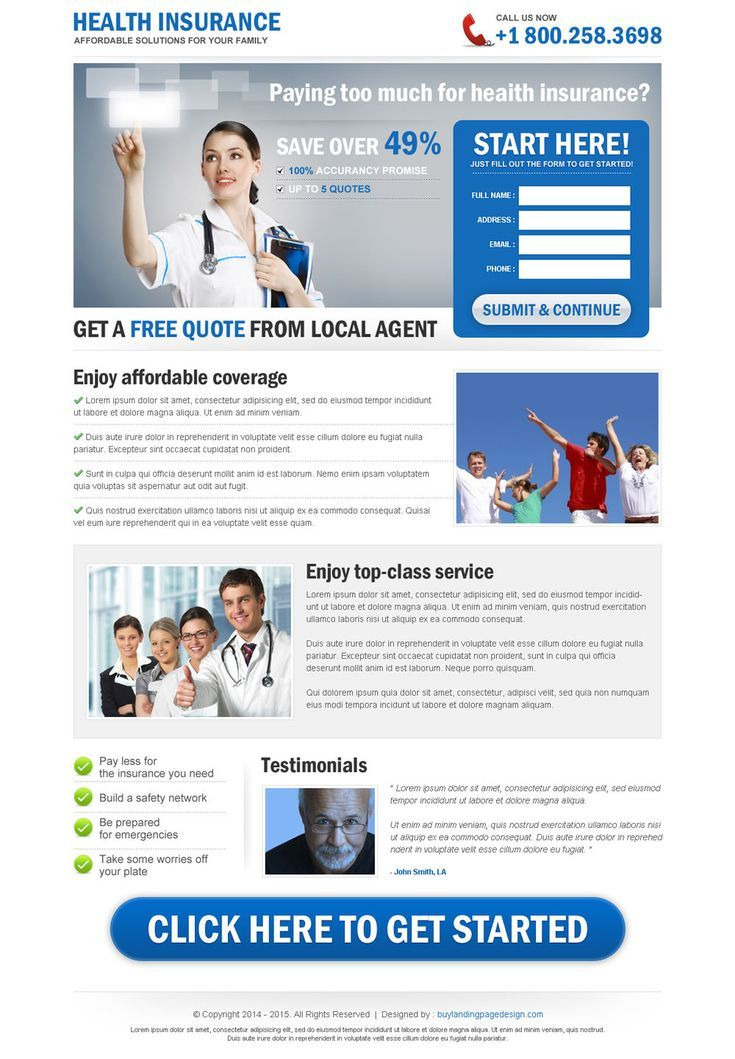 Clean Health Insurance Free Quote Lead Capture Landing Page Life