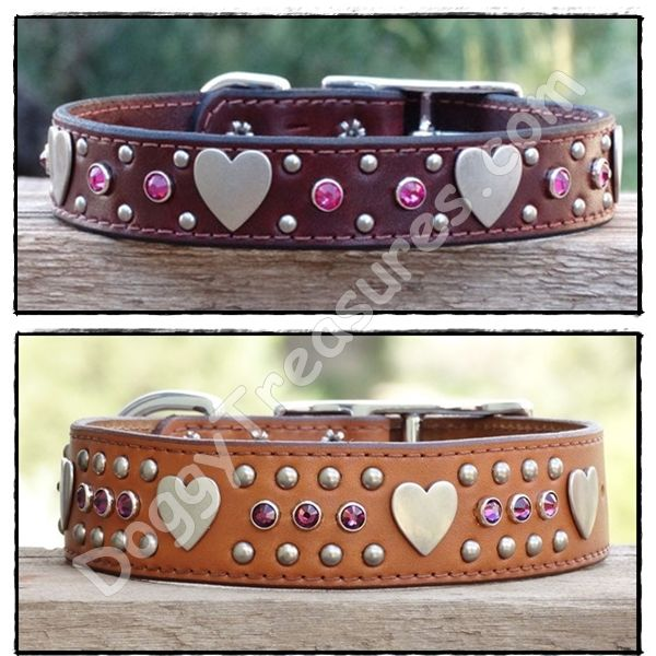 Loveland Custom Leather Dog Collars for Large Dogs - 1 inch wide (top) & 1.5 inch wide (bottom)