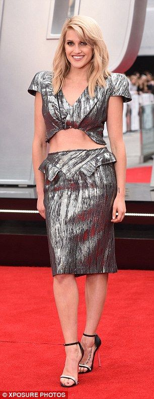 Ashley Roberts shows off her flat stomach in a futuristic metallic crop top and matching skirt for the Spy London premiere | Daily Mail Online