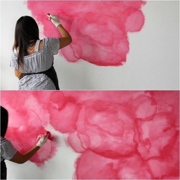 How To Stencil A Diy Watercolor Mural Watercolor Mural Wall