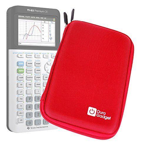 Coque de rangement rouge rigide pour Texas Instruments TI-83 Premium, TI 82 Advanced et TI-NSPIRE CX calculatrices scientifiques –…