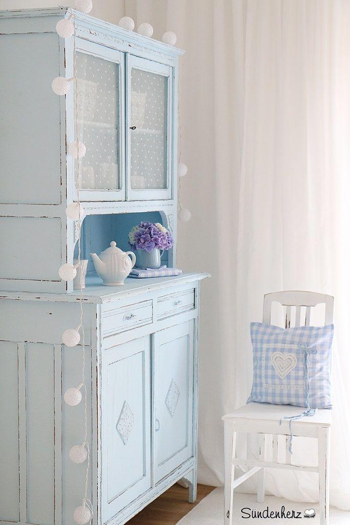 http://www.suendenherz.de/ #blue #shabby #KitchenDresser #cupboard Himmelblauer Schrank | Flickr - Photo Sharing!