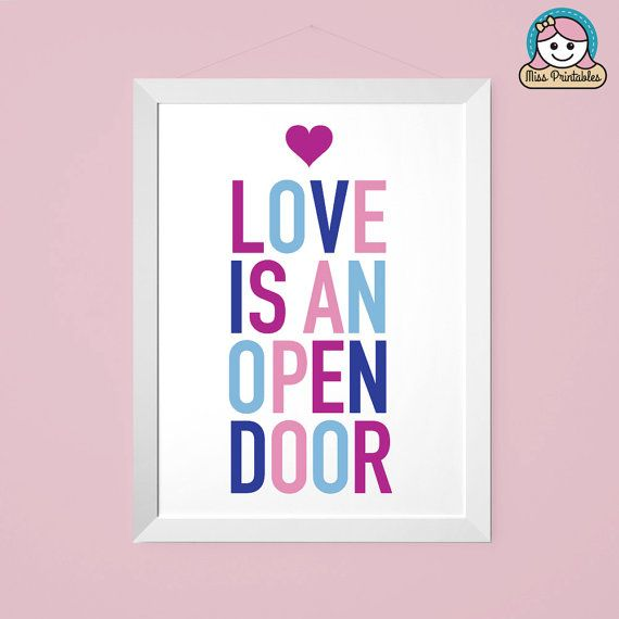 Frozen inspired - Love Is An Open Door - Child's bedroom printable typographic wall art. Instant download. Frozen theme colors. PDF.