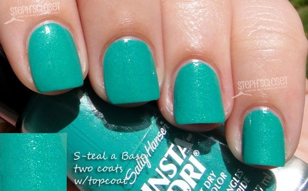 Sally Hansen Insta Dri in S-teal A Base - A Green/Teal Shimmer.  This polish is so under-appreciated.  It's a gorgeous one-coater packed with shimmer.
