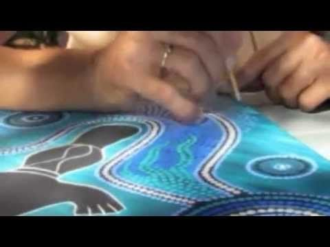 Aboriginal artist Bronwyn Ferguson working on a dot painting of the platypus. She gives tips on how to dot paint effectively. Good, clear video and lovely painting!