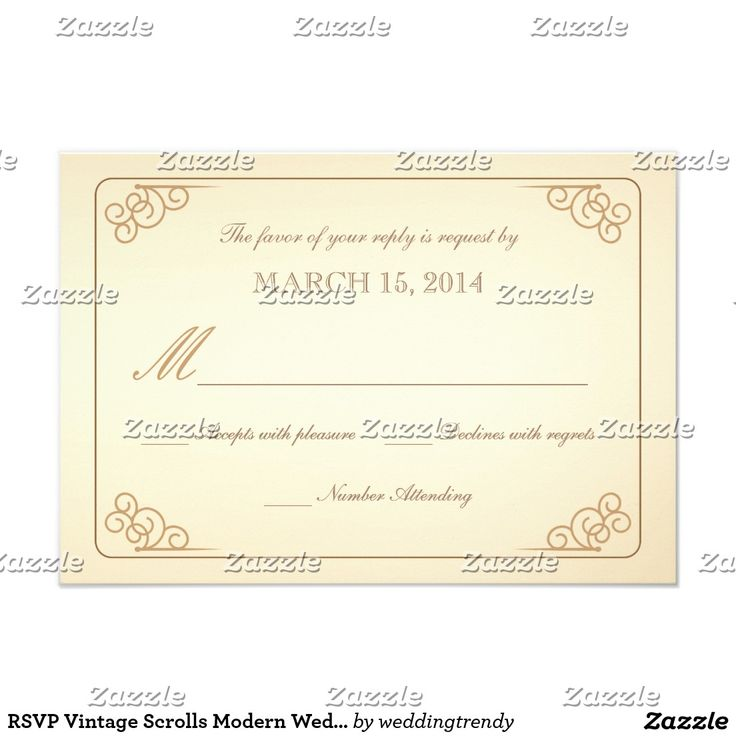 RSVP Vintage Scrolls Modern Wedding Reply Card