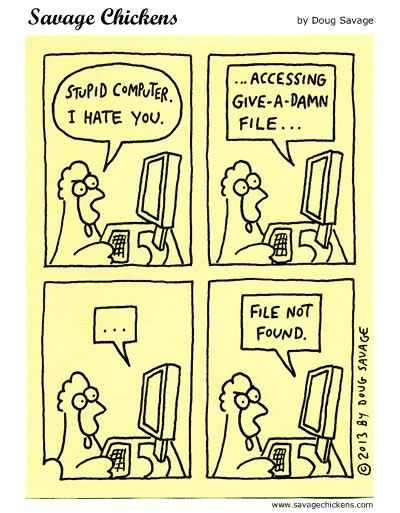 Stupid Computer Cartoon | Savage Chickens - Cartoons on Sticky Notes by Doug Savage