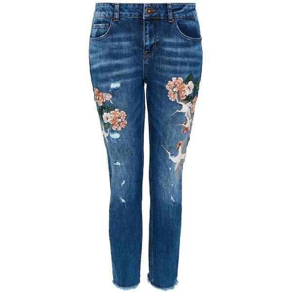 Hallhuber Embroidered Boyfriend Jeans ($130) ❤ liked on Polyvore featuring jeans, women jeans, relaxed fit boyfriend jeans, destroyed boyfriend jeans, boyfriend jeans, relaxed boyfriend jeans and distressed boyfriend jeans