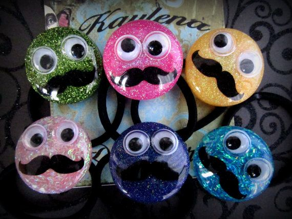 Mustache Ponytail Holder ,Ponytail Holder - Resin Ponytail Holder - Birthday Theme by cutiepa2d