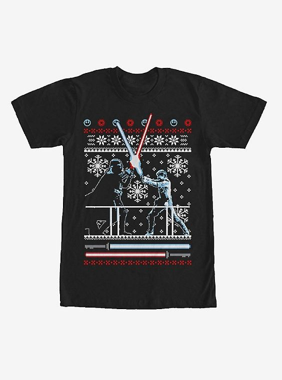 Star Wars Ugly Christmas Sweater Duel T-Shirt Gift Ideas