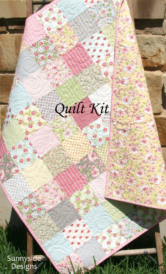 Baby girl quilt kit ambleside for moda fabrics blue pink yellow beginner simple patchwork diy - Do it yourself moda ...
