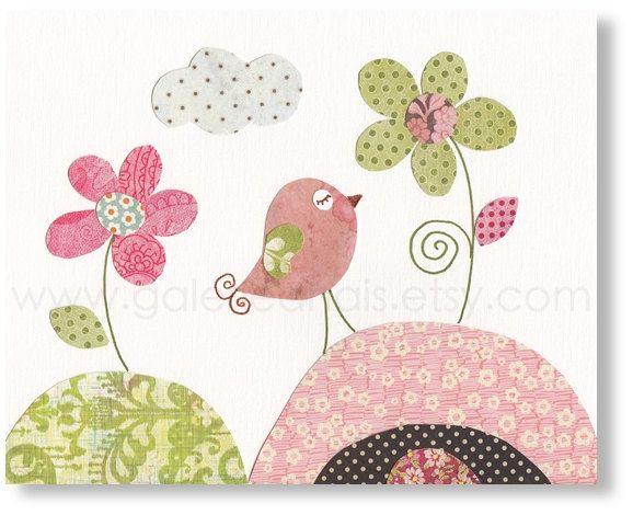 kids wall art, nursery art print, nursery decor, baby nursery print, kids art, kids room decor, nursery bird, Parmi Les Fleurs 8x10. $14.00, via Etsy.