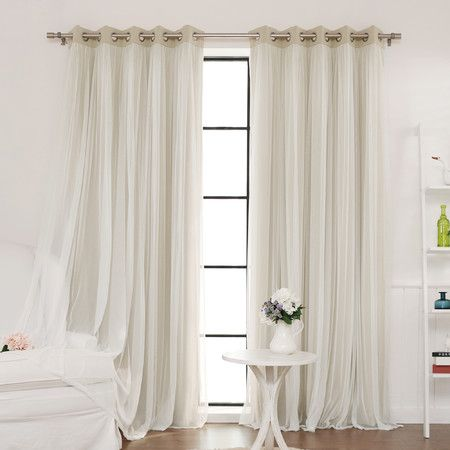 Delicate sheer lace overlay adds a romantic effect to functional blackout curtains. Featuring an innovative triple weave fabric construction Best Home Fas...