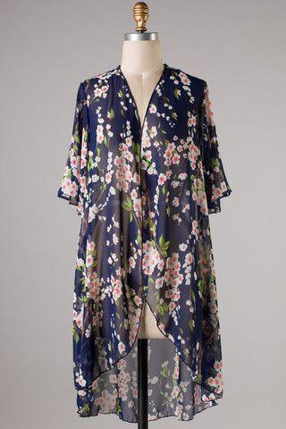 Floral Kimono Cardigan - Navy