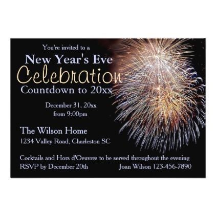 Fireworks New Year's Eve Party Invitation - invitations personalize custom special event invitation idea style party card cards