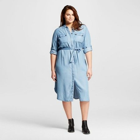 Women's Plus Size Midi Shirt Dress - Who What Wear™ : Target