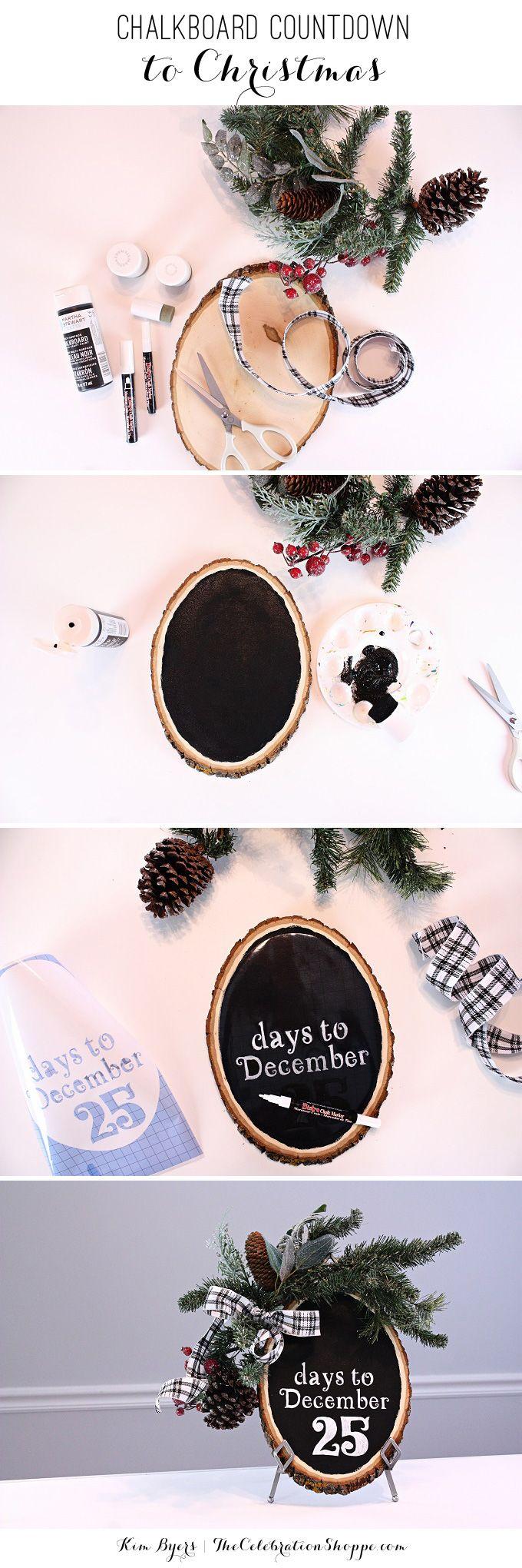 DIY Countdown To Christmas : Wood Slice Chalkboard Decoration and Display