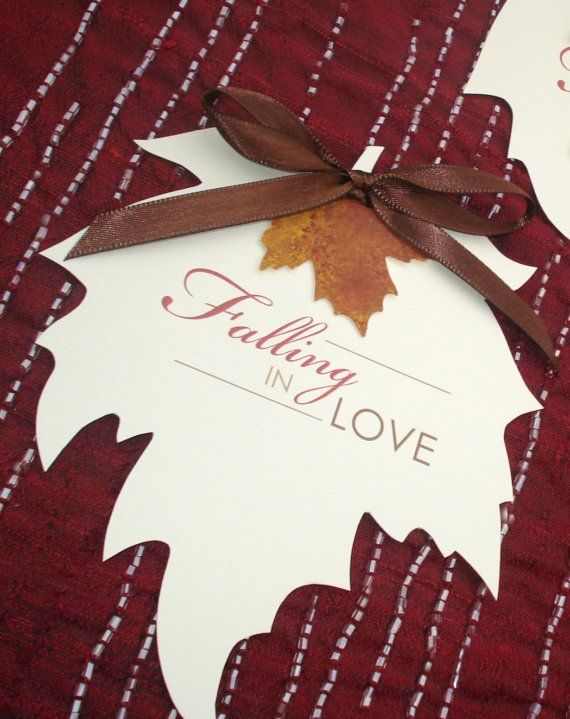 falling in love autumn leaf wedding save the date reserved for