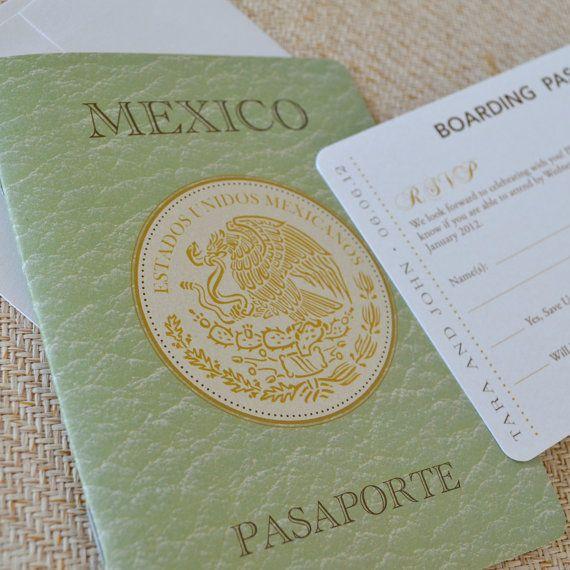 Mexican Crest Passport Wedding Invitation (San Jose Del Cabos, Mexico)    Design Fee
