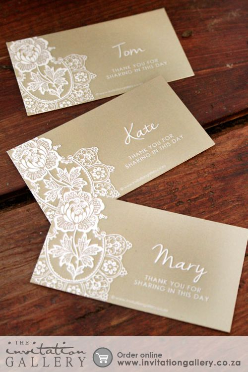 Name card with delicate lace patterns • Colours and text are customisable • Order at: http://www.invitationgallery.co.za/wedding-invitations-and-stationery/details/MPC001-029