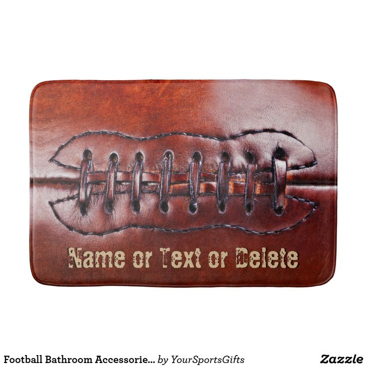 Personalized Super Cool Vintage Football Bathroom Mat Football CLICK HERE: https://www.zazzle.com/z/o8k6i?rf=238012603407381242 Great Sports themed bathroom accessories for his football man cave. Cool faux vintage football decorating ideas for him and kids football themed room for boys. To view some great football decorating ideas and gifts CLICK: https://www.zazzle.com/yoursportsgifts/gifts?cg=196692834092891705 Coolest football bathroom, vintage sports decor. #matfootball #footballbathroom