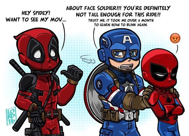 Deadpool, Captain America and young Spider - Man on the new Deadpool Film (2016). Despite, Captain America wouldn't allow Spider-Man due Mature Content in his film.