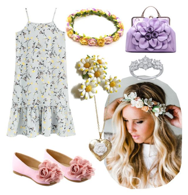 """""""festival flower"""" by teresa-charming ❤ liked on Polyvore featuring Emily Rose Flower Crowns and Poporcelain"""