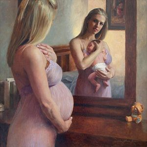 Mother And Child Painting - The Wait And The Reward by Anna Rose Bain