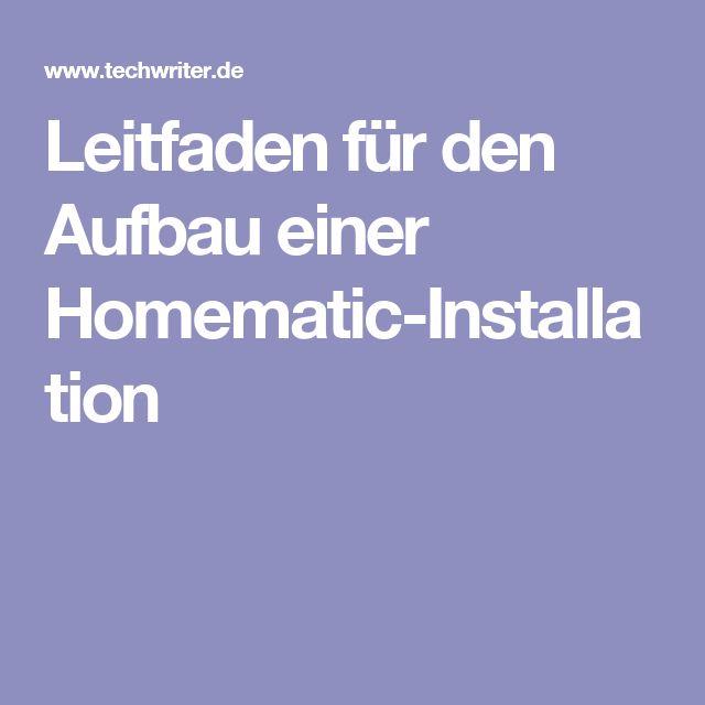 Leitfaden für den Aufbau einer Homematic-Installation
