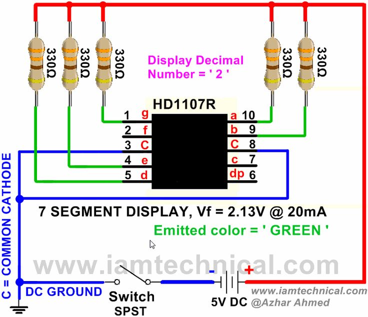 Common Cathode 7 Segment HD1107R Displaying Decimal Number ' 2 ' | IamTechnical.com