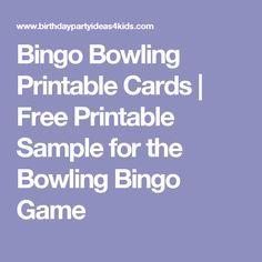 Bingo Bowling Printable Cards | Free Printable Sample for the Bowling Bingo Game