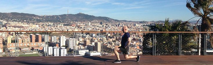 Lunges with amazing views of Barcelona
