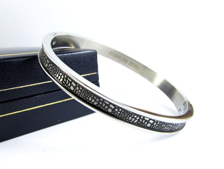 Solid Silver Stainless Steel Polished Bangle Cuff Men Women