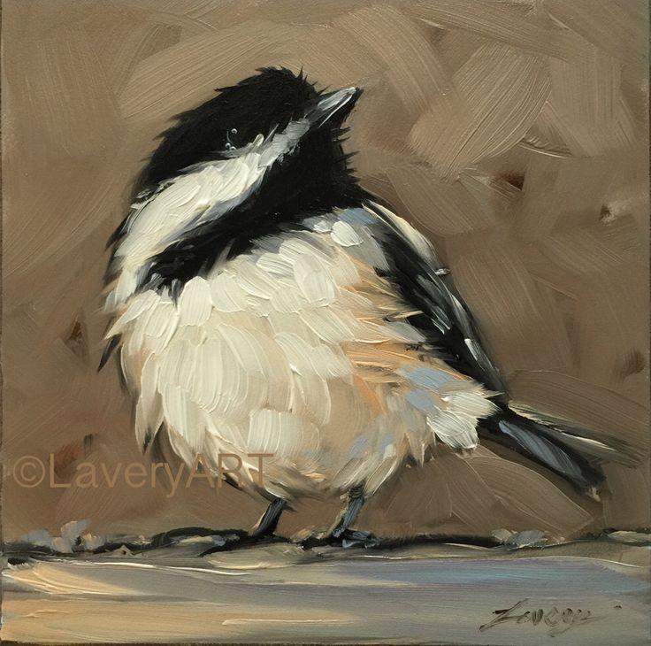 "4x4"" oil on panel chickadee art Etsy.com/shop/LaveryART"