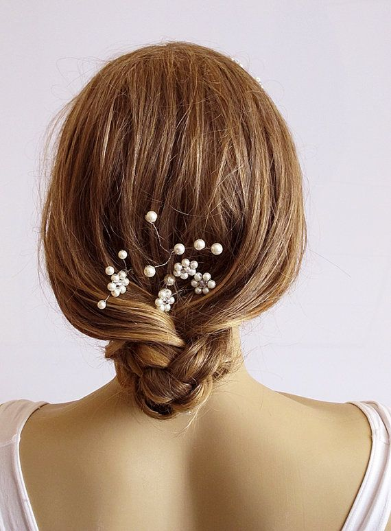 Wedding Hairpin wire pearl hairpin crystal bridal by selenayy