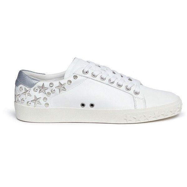 Ash 'Dazed' star stud calfskin leather sneakers ($195) ❤ liked on Polyvore featuring shoes, sneakers, white, ash trainers, white shoes, ash sneakers, studded sneakers and calf leather shoes