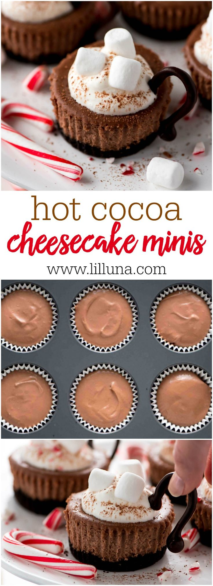 #ad Cute and Delicious Hot Cocoa Cheesecake Minis - this simple and adorable treat has a creamy chocolate cheesecake center and is topped with whipped cream and marshmallows! @spreadphilly #ItMustBeThePhilly