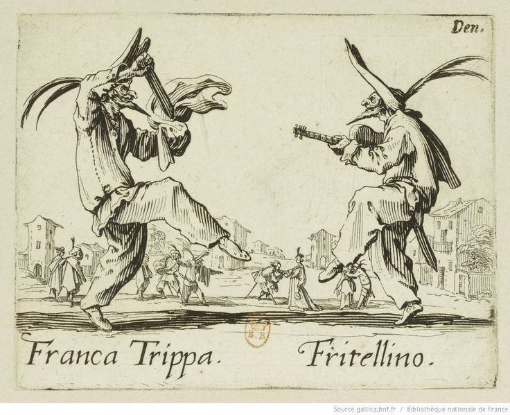 Jacques Callot, Two Italian buffoons, C. 1622, detail, etching from the Balli di Sfessania serial.