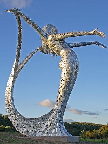 This fabulous piece of public art, standing ten metres tall and made from galvanised steel, was unveiled in August 2010.  It is the work of the acclaimed Glasgow artist Andy Scott.  Named Arria, it overlooks the A80 main Glasgow to Stirling trunk road at Cumbernauld, where it is estimated that it will be viewed by 70,000 motorists daily. Costing £250,000, it has divided residents in the town, with some questioning the use of public funds for such a project.