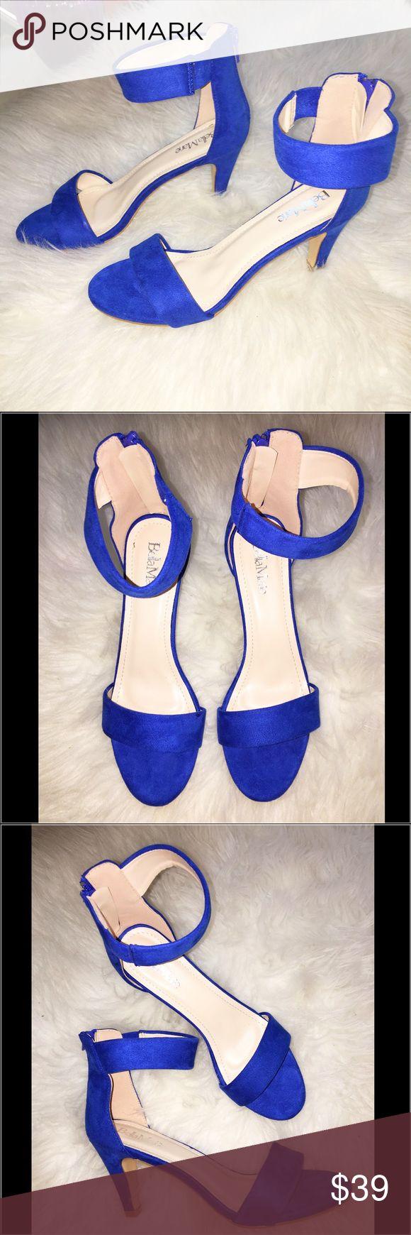 "NIB Cobalt Blue Open Toe Sandals Brand new inbox Cobalt Blue Faux Suede Open Toe Sandals. Size 7.5 with a 2.75"" inch heel. Very comfortable! Shoes Sandals"