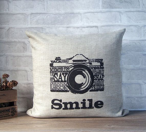 SALE - Linen decorative pillow with retro camera print - black camera print throw pillow - linen pillow with retro design