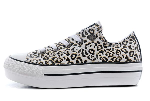 White Leopard Print All Star Platform Low Tops Chuck Taylor