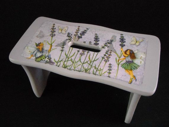 Lilac child's wooden bench  step stool by HandmadeByFiona on Etsy