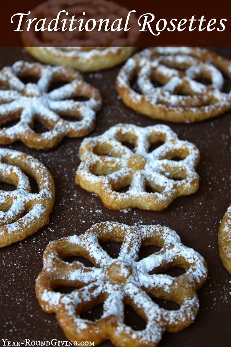 Traditional Rosettes are fun to make and taste like a funnel cake but lighter. Making Rosettes takes a little practice. I recommend having an assistant ...